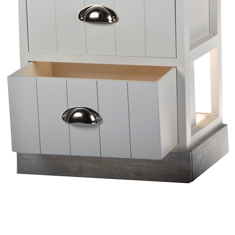 cabinet kommode nachtschrank wei grau holz 2 schubladen. Black Bedroom Furniture Sets. Home Design Ideas