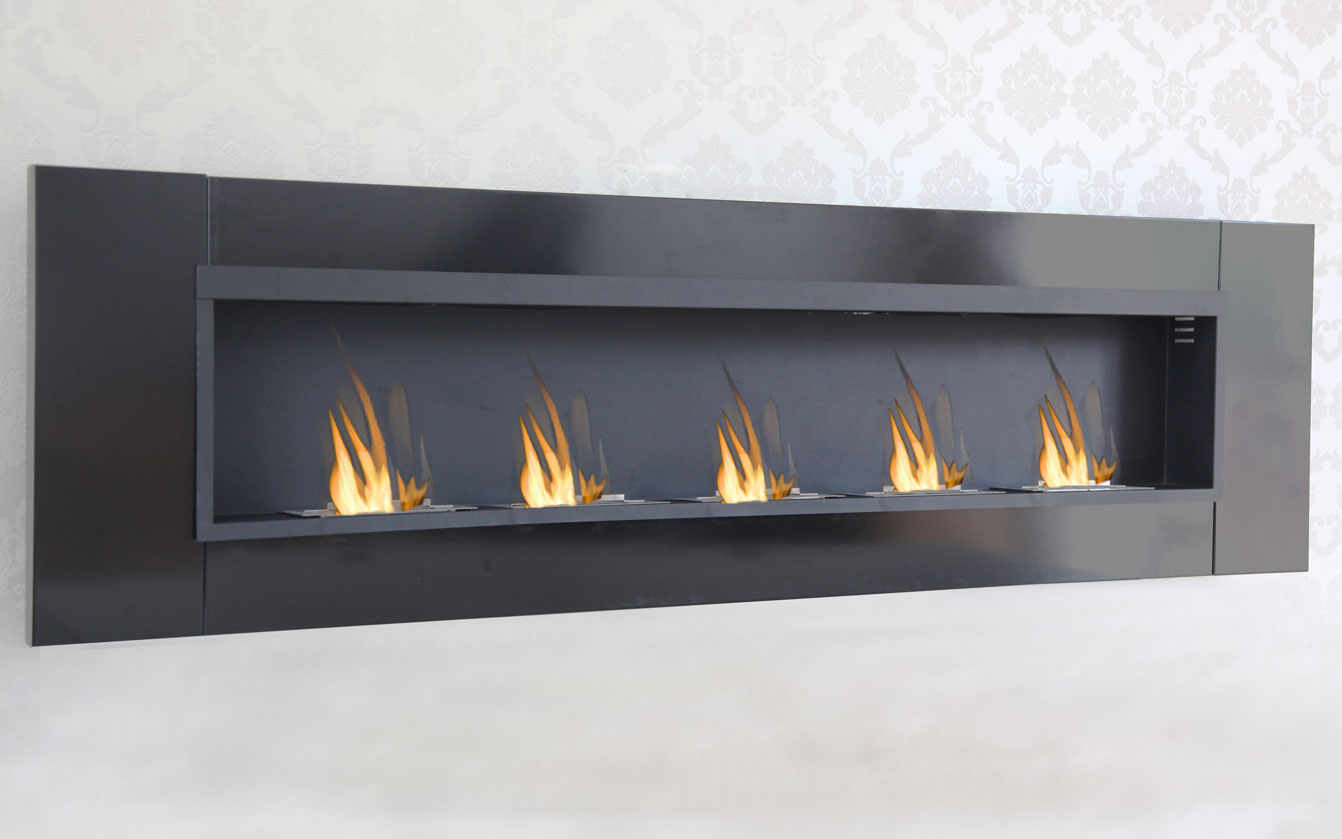 5 burner luxury chimney bio ethanol gel fireplace wall cheminee black high gloss ebay. Black Bedroom Furniture Sets. Home Design Ideas