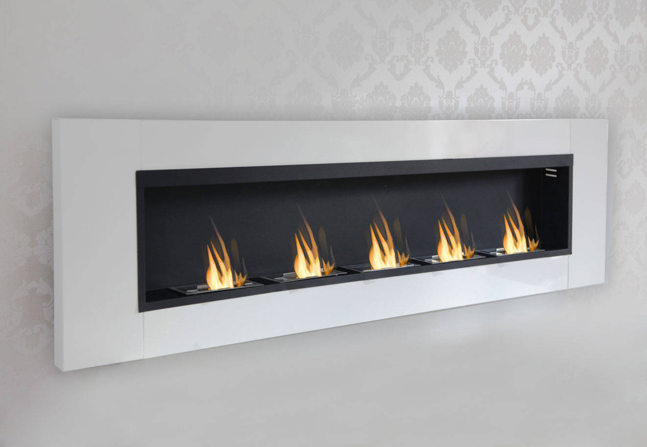 5 burner luxury chimney bio ethanol gel fireplace wall cheminee white high gloss ebay. Black Bedroom Furniture Sets. Home Design Ideas
