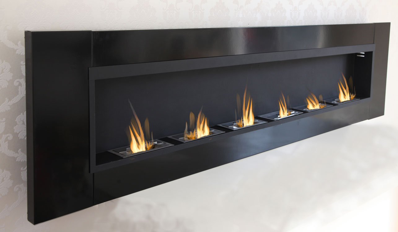 6 burner luxury chimney bio ethanol gel fireplace wall cheminee black high gloss ebay. Black Bedroom Furniture Sets. Home Design Ideas