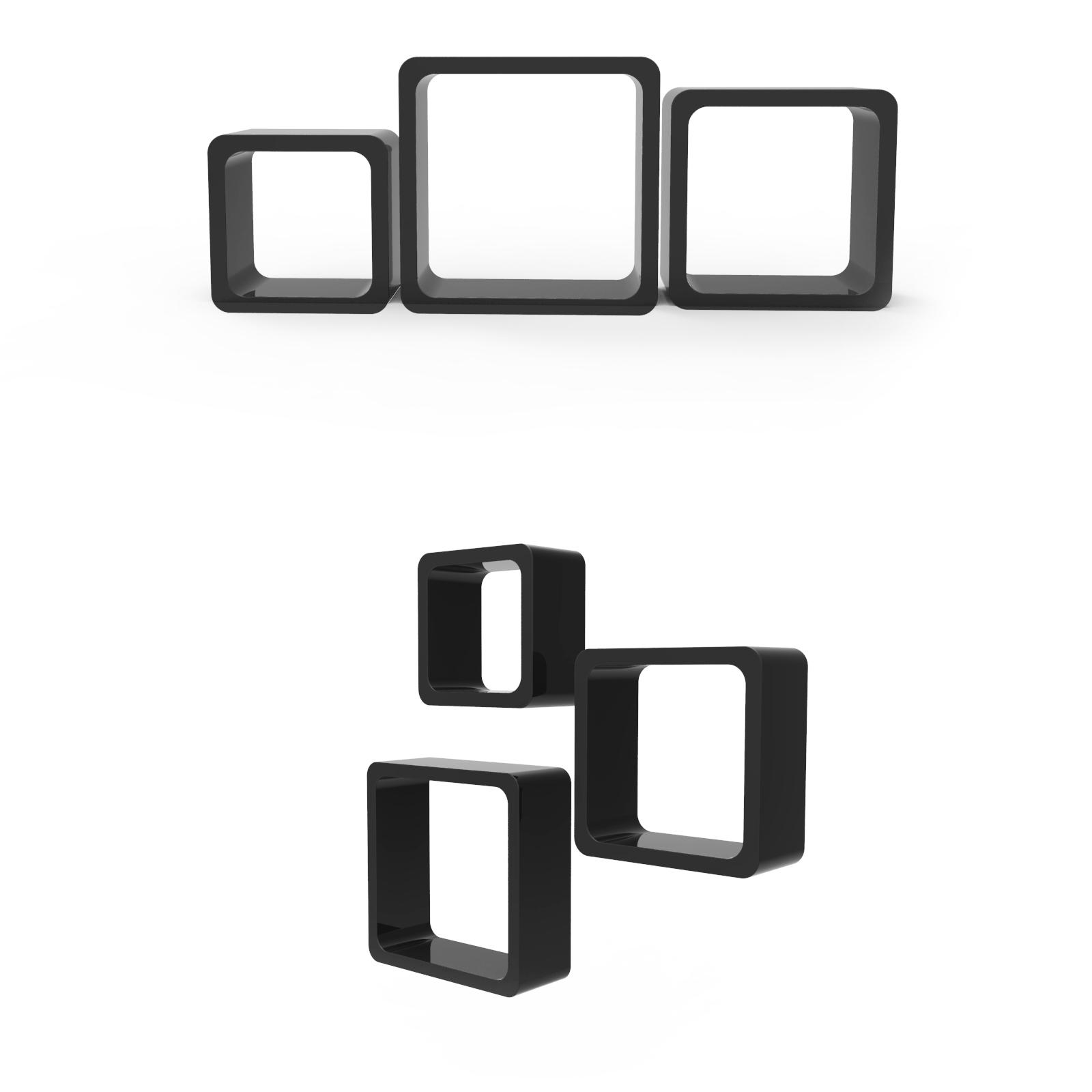 3er Set Cube Regale Hängeregal Wandregal Bücherregal Lounge Hochglanz MDF Regal