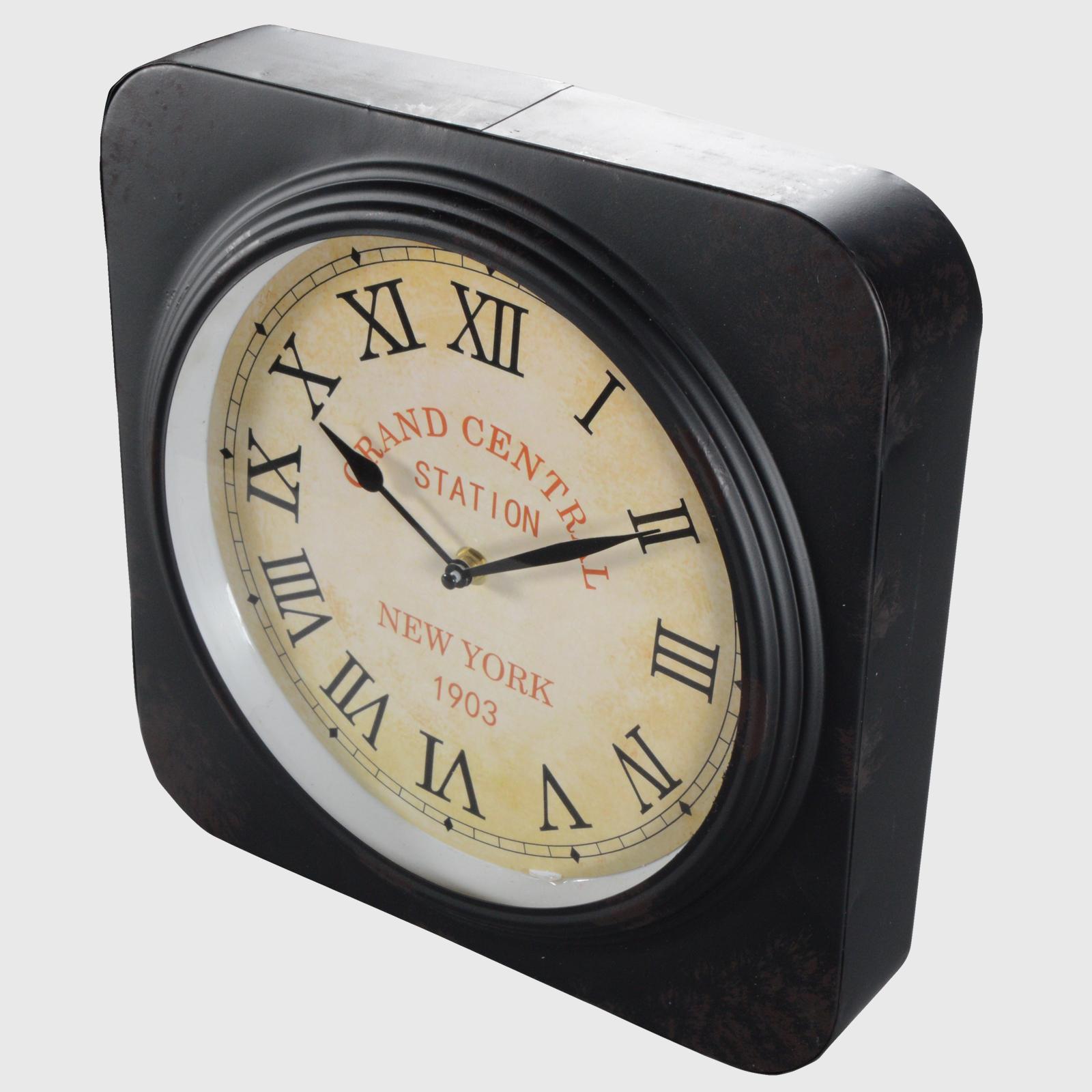 bahnhofsuhr wanduhr tischuhr kaminuhr uhr vintage metall grand central uh 001bu ebay. Black Bedroom Furniture Sets. Home Design Ideas