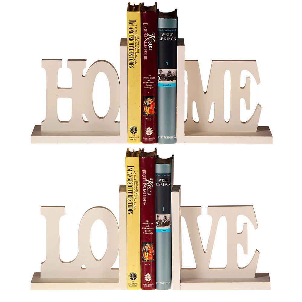 Bookends Bookstand Book Stand Home Love White Wood Shabby