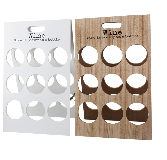 Portabottiglie vino legno per 9 bottiglie scaffale di bianco natura ebay - Scaffale portabottiglie ...