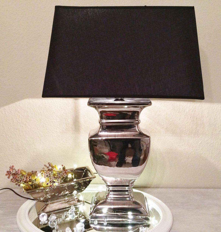 Xxl c ramique lampe 74cm pied de lampe argent abat jour for Lampe de chevet argent