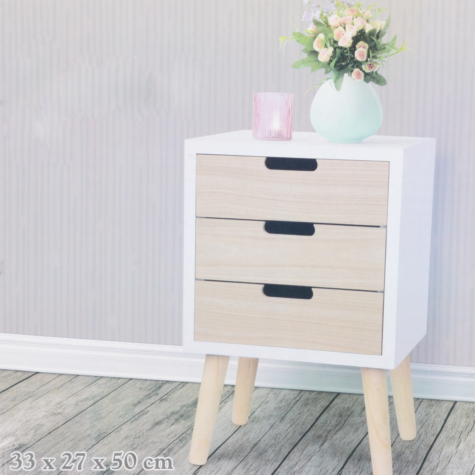 kleiner schrank schubladen holz wei natur kommode shabby chic aufbewahrung neu ebay. Black Bedroom Furniture Sets. Home Design Ideas